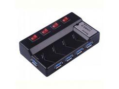 Концентратор Viewcon VE324 USB3.0, 4 портов, с БП, с выключателями, Black
