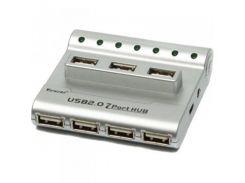 Концентратор Viewcon VE243 USB2.0, 7 портов, с БП, серебристый