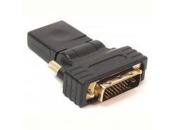 Переходник PowerPlant (KD00AS1301) HDMI(AF)-DVI(AM), 360 градусов, Black