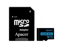 Карта памяти APACER microSDXC 64GB UHS-I U3 V30 +ad (R100MB/s)