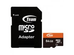 Карта памяти MicroSDXC  64GB UHS-I Team + SD-adapter (TUSDX64GUHS03)