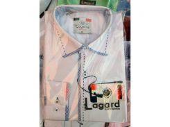 Рубашка детская, подростковая Lagard длинный рукав. Белая+синий кант+строчка