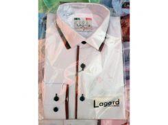 Рубашка детская, подростковая Lagard длинный рукав. Белая+красный кант полоска/ромб