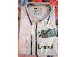 Рубашка детская, подростковая Lagard длинный рукав. Белая+синий кант полоска/ромб