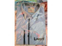 Рубашка детская, подростковая Lagard длинный рукав. Голубая + темн.синяя полоска и кант ромб-полоска