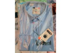 Рубашка детская, подростковая Lagard длинный рукав. Голубая + синий кант точка/ромбик + строчка