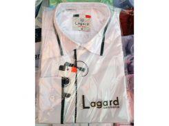 Рубашка детская, подростковая Lagard длинный рукав. Белая + черный кант в точку