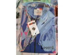 Рубашка детская, подростковая Lagard длинный рукав. Темно-синяя + светлый кант в точку + полоска