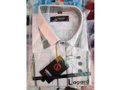 Рубашка детская, подростковая Verton длинный рукав Slimfit приталенная. Белая+черный кант полоска/ромб