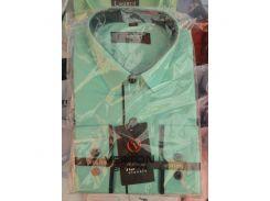 Рубашка детская, подростковая Verton длинный рукав Slimfit приталенная. Снежная мята
