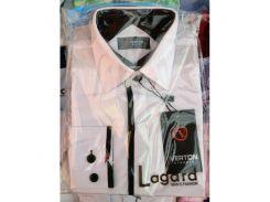Рубашка детская, подростковая Verton длинный рукав Slimfit приталенная. Белая + полоска толстая