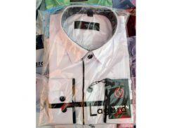 Рубашка детская, подростковая Verton длинный рукав Slimfit приталенная. Белая + полоска тонкая