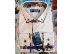 Рубашка детская, подростковая Verton длинный рукав Slimfit приталенная. Белая + коричневый кант