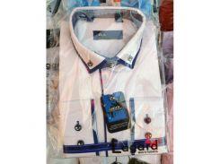 Рубашка детская, подростковая Verton длинный рукав Slimfit приталенная. Белая + синий кант