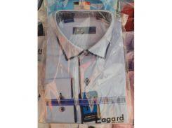 Рубашка детская, подростковая Verton длинный рукав Slimfit приталенная. Голубая + синий кант