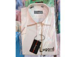 Рубашка детская, подростковая Lagard короткий рукав. Белая + коричневый кант
