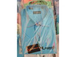 Рубашка детская, подростковая Lagard короткий рукав. Голубая + кант