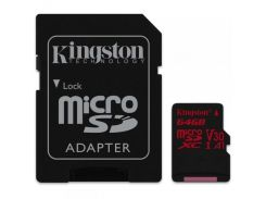 Карта памяти MicroSDXC  64GB UHS-I/U3 Class 10 Kingston Canvas React R100/W80MB/s + SD-адаптер (SDCR/64GB)