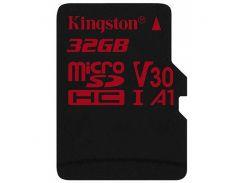 Карта памяти Kingston microSDHC 32GB Canvas React Class 10 UHS-I U3 V30 (SDCR/32GBSP)