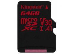 Карта памяти Kingston microSDHC 64GB Canvas React Class 10 UHS-I U3 V30 (SDCR/64GBSP)