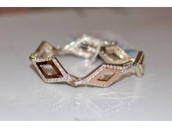 Серебряный браслет с золотыми вставками (арт.Бр - 6)