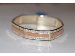 Серебряный браслет  с золотыми пластинами (арт.Бр - 5)