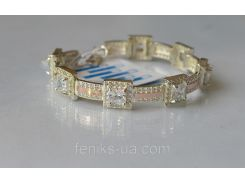 Браслет серебряный с золотыми пластинками (арт.БР-17)