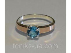 Кольцо серебряное с золотыми накладками (007к)