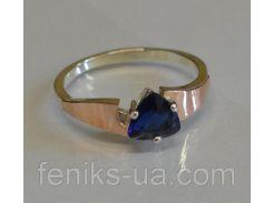 Кольцо серебряное с золотыми вставками (008к)