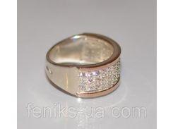 Кольцо серебро с золотом (014к)