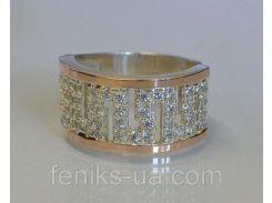 Серебряное кольцо с золотом (020к)