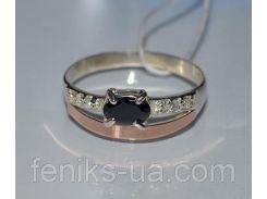 Кольцо серебряное с золотыми вставками (021к)