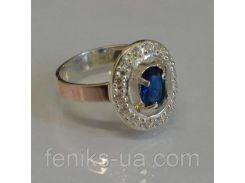Кольцо серебряное с золотыми вставками (023к)