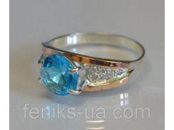 Кольцо серебряное с золотой вставкой (026к)