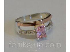 Кольцо серебряное с золотыми напайками (028к)