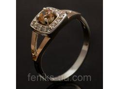 Кольцо серебряное, с золотыми накладками (032к)