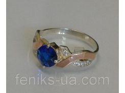Кольцо серебряное с золотыми вставками (033к)