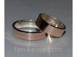Серебряное обручальное кольцо с золотой накладкой (Обр 2)