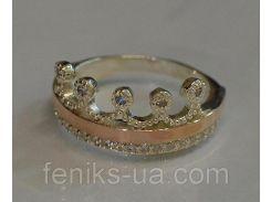 Серебряное кольцо с золотыми вставками (016к)
