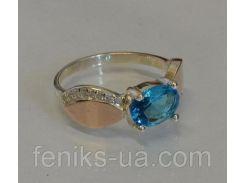 Кольцо серебряное с золотыми накладками (047к)