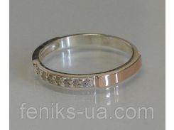Серебряное кольцо с золотыми пластинками (052к)
