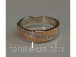 Кольцо серебряное с золотыми пластинками (053к)