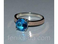 Серебряное кольцо с золотыми пластинками (055к)