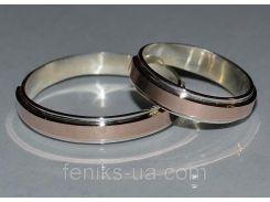 Серебряное обручальное кольцо (Обр 4)