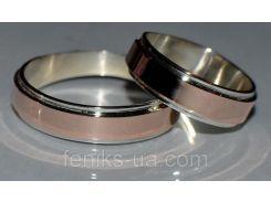 Обручальное кольцо из серебра с золотом (Обр 5)