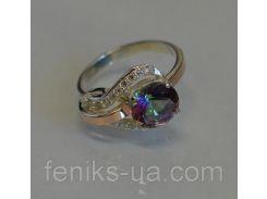 Серебряное кольцо с золотыми  вставками (056к)