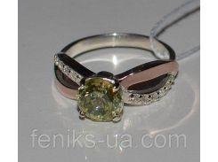 Серебряное кольцо с золотыми пластинками (062к)