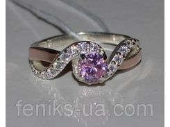 Серебряное кольцо с золотыми вставками (067к)