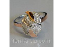 Серебряное кольцо с золотыми пластинками (060к)