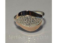 Серебряное кольцо с золотыми напайками (084к)